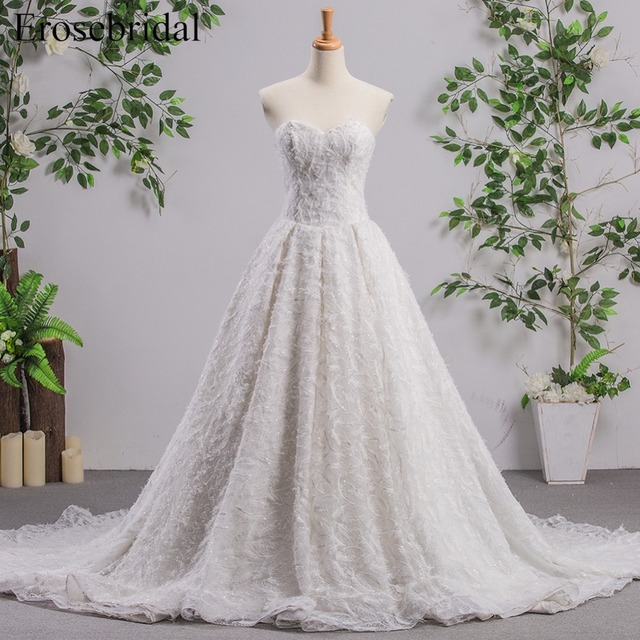 A Line Sleeveless Wedding Dress With Feather Lace Up Back Sweetheart Bridal Gown Long