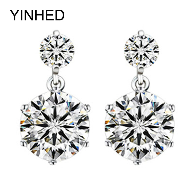 Yinhed Hearts Arrows Cz Diamant Stud Earrings For Women Real 925 Sterling Silver Fashion Jewelry
