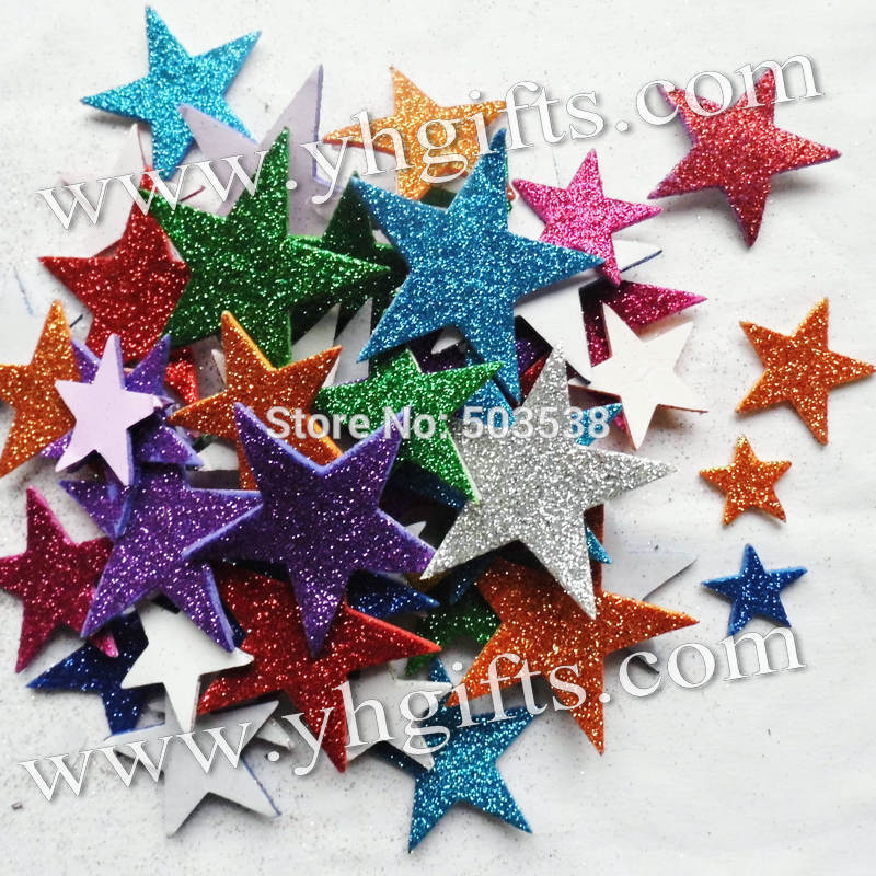 product 55PCS(1bag)/LOT.Glitter foam star stickersKids toy.Scrapbooking kit.Early educational DIY.Cheap.kindergarten craft