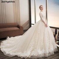 2018 Long Half Sleeve Muslim Lace Wedding Dress Champagne Lace Appliques Plus Size Weddingdress Real Photo Vestido De Noiva