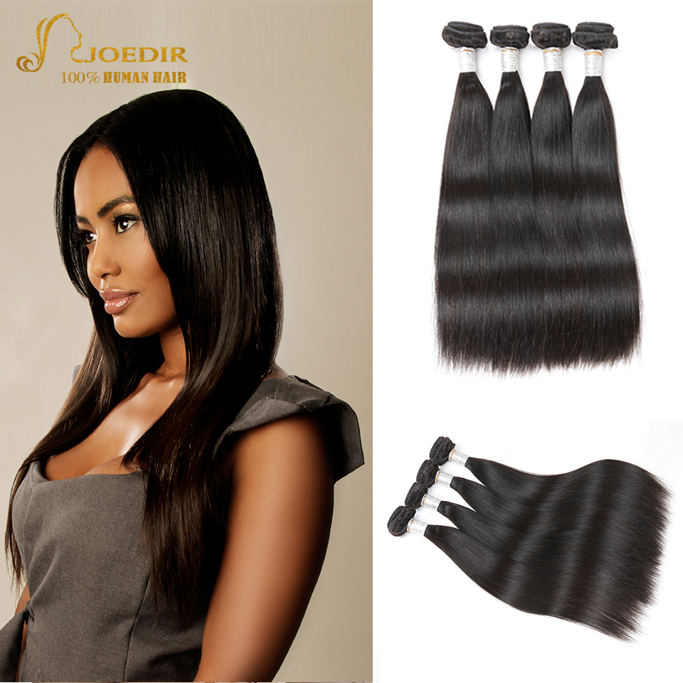 Joedir Peruvian Straight Hair Bundles 100% Human Hair Weave 4 Bundles Natural Color Non Remy Hair Extensions Free Shipping
