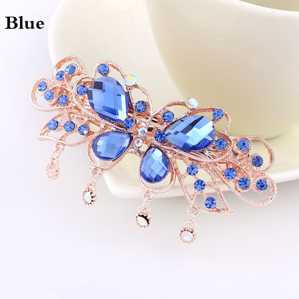 Women Butterfly Crystal Rhinestone Hair Clips Girls Flower Big Barrettes Hairpins Hair Accessories Hairstyle Design Styling Tool