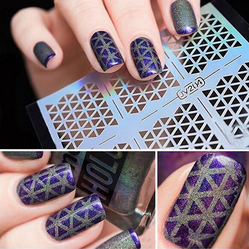 2016 New Hot 1 Sheet DIY Easy Use Manicure Irregular Hollow Stencil Nail Art Stickers Stamp