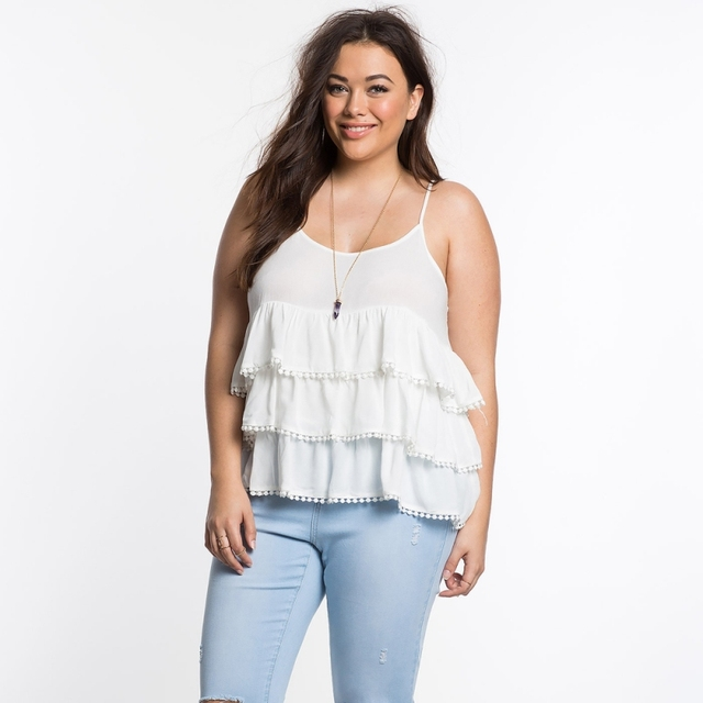 Oversize Crop Top Plus Size 6XL Women Summer Spaghetti Strap Lace Cascading White Tank Top Blusa