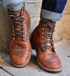 Moda masculina de couro do plutônio do laço-up sapatos masculinos do vintage britânico botas militares primavera outono sapatos casuais homens botas da motocicleta p20