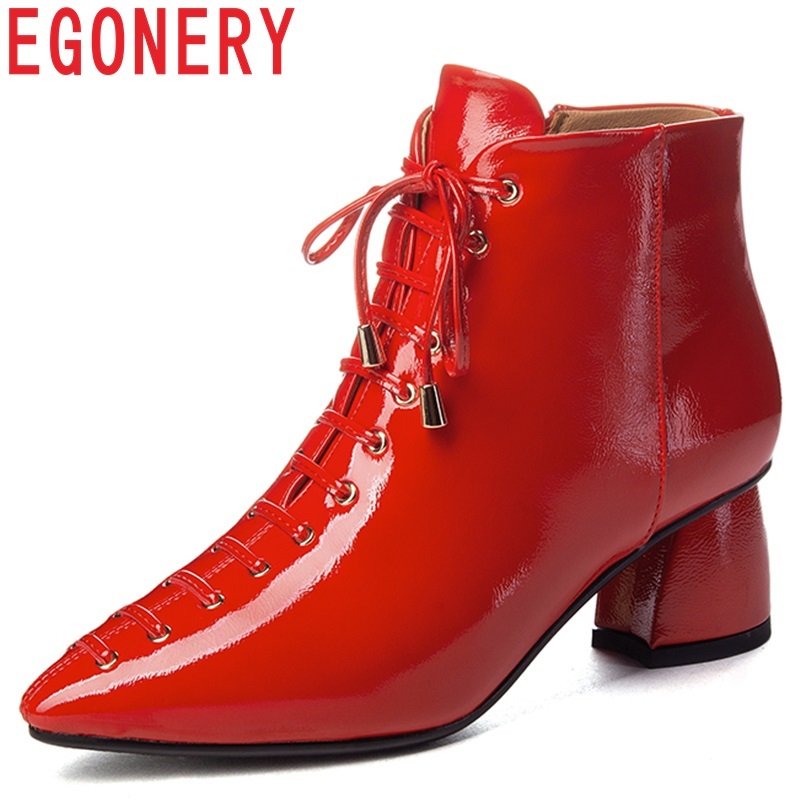EGONERY women shoes 2018 new fashion sexy pointed toe winter warm zipper med hoof heels cross-tied patent leather ankle boots все цены