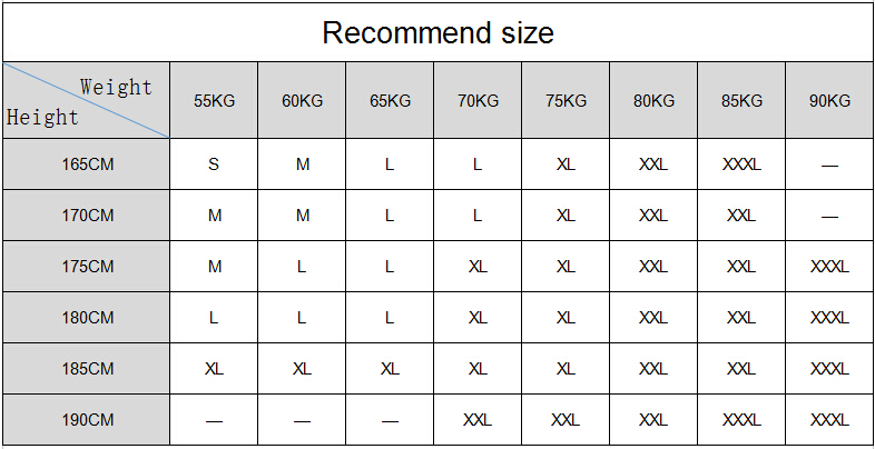 Recommend size