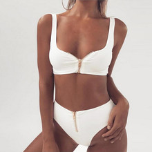 Win 2019 Summer New Women Solid Zipper Bikini Set Push-up Padding Bra High Waist Panties Swimsuit Bather Suit Swimming Suit Biquini discount