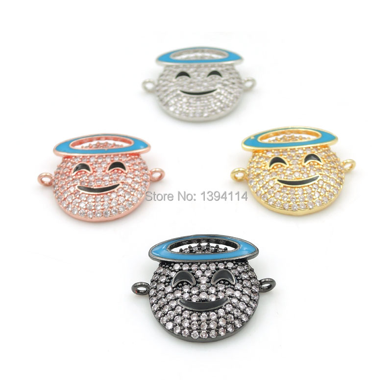 20*17*3mm Micro Pave Clear CZ Swoon Expression Charm With Enamelling Fit For Men And Women Making Bracelets Jewelry