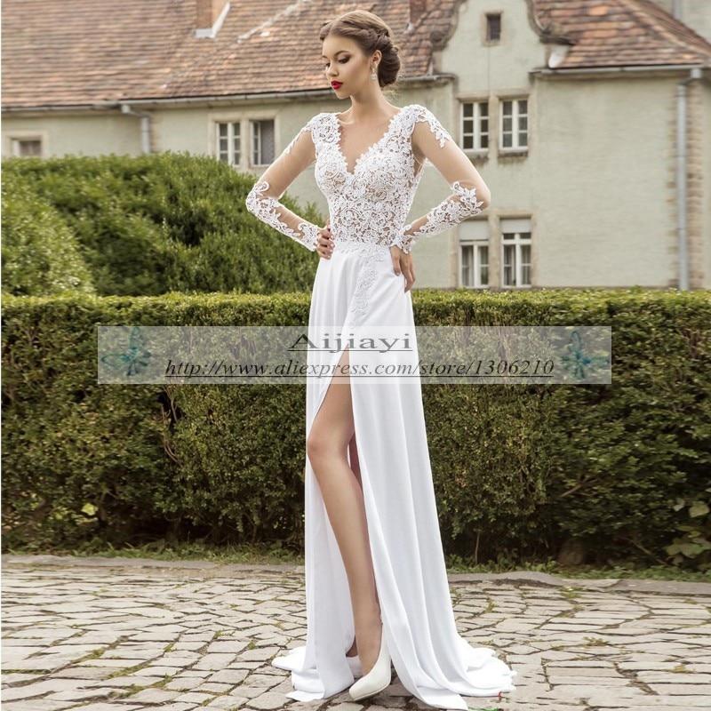 White Chiffon Lace A line Garden Wedding Dresses Long sleeve Sheer V ...
