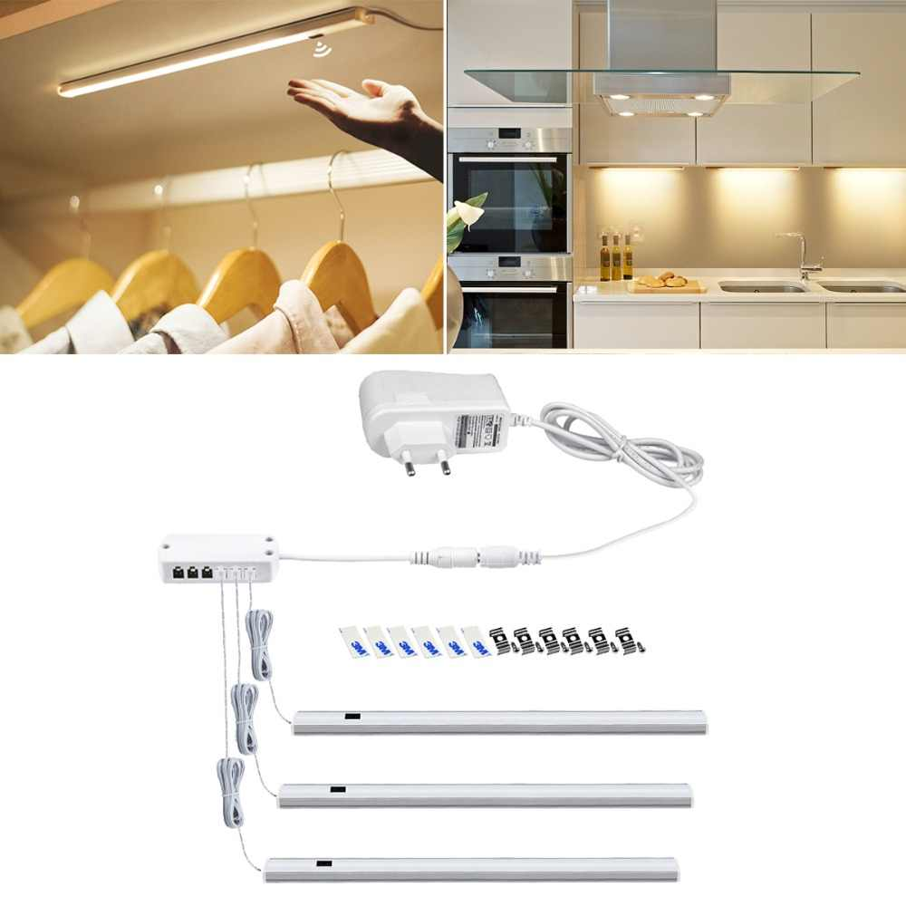 Hand Scan LED Bar Lamp Motion Sensor LED AC 220V To DC 12V Power Adapter EU Plug LED Lights For Cabinet Closet Cupboard Kitchen