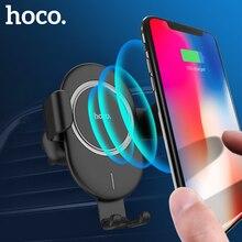 Hoco 10W Auto Qi Draadloze Oplader Snel Opladen Voor Iphone 8 X Xs Max Auto Telefoon Houder Air Vent mount Stand Voor Samsung S9 Xiaomi