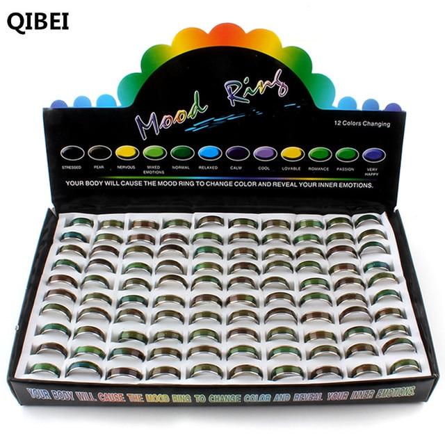 الجملة الكثير! 100 قطعة خواتم المزاج! خاتم بفص يتغير لون خواتم الفولاذ المقاوم للصدأ مزيج حجم 6 7 8 9