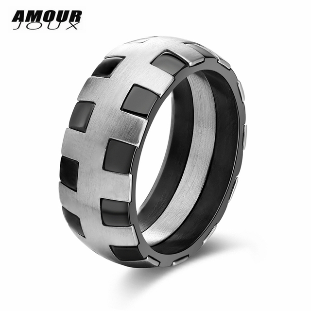 amourjoux tyre line surface blacksilver color frosting band 316l stainless steel wedding rings - Stainless Steel Wedding Rings