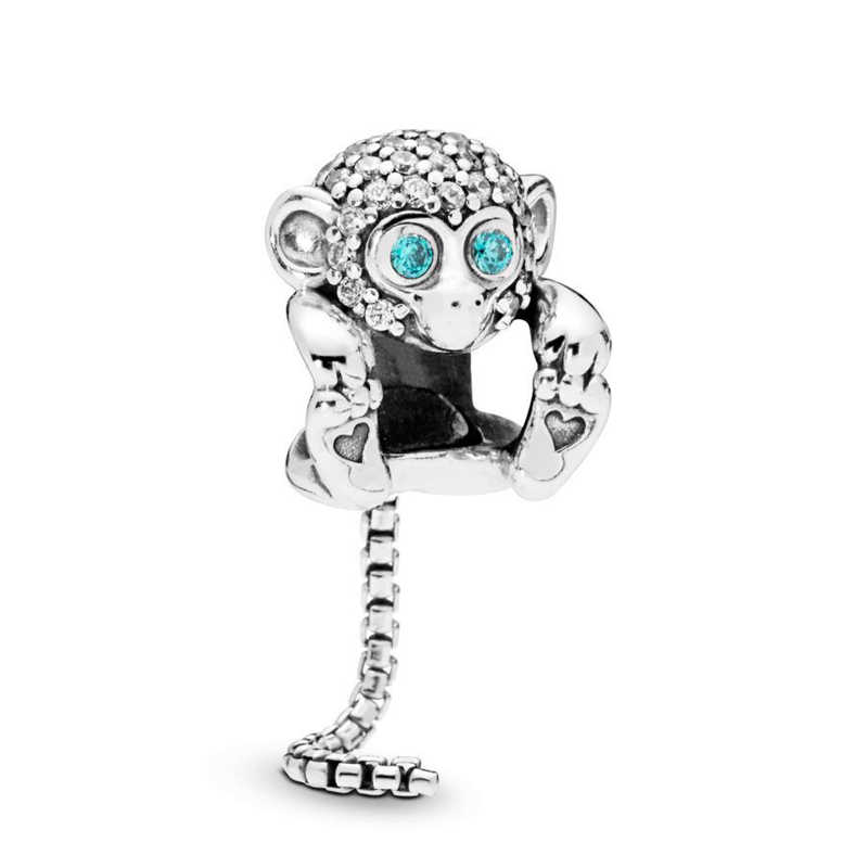 Free Shipping Authentic 925 Sterling Silver Sparkling Monkey Charms Fit Original Pandora Bracelets For Women DIY Jewelry