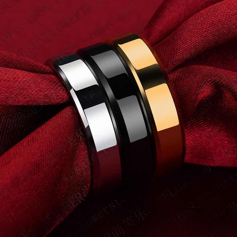 2019 6mm titanio acero negro anillos de dedo conjunto para hombre anillo Chapado en plata para mujer joyería de color dorado mujer anillo de boda