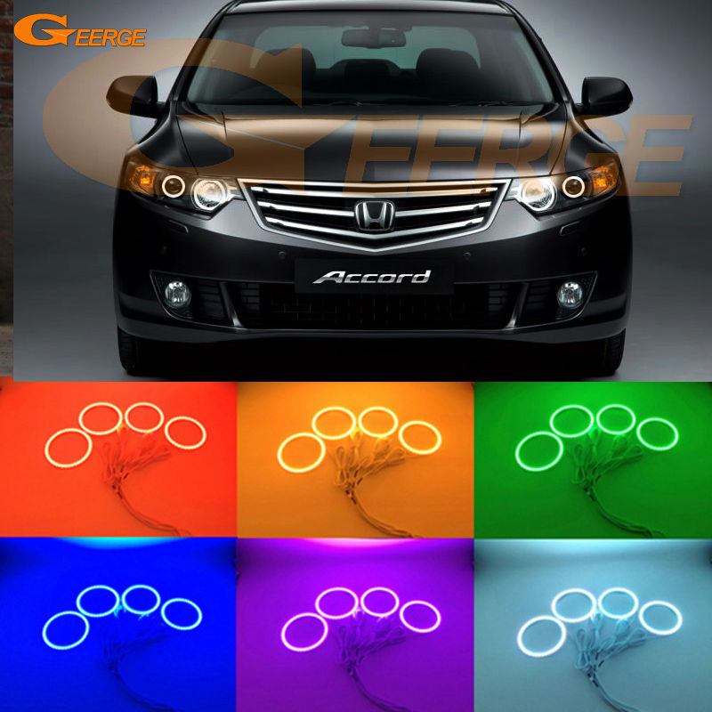 For HONDA ACCORD EURO CU 2008 2009 2010 2011 2012 2013 2014 Excellent Multi-Color Ultra bright RGB LED Angel Eyes kit Halo Rings for honda odyssey 4th g rb3 rb4 chassis 2008 present excellent ultrabright headlight illumination ccfl angel eyes kit halo ring
