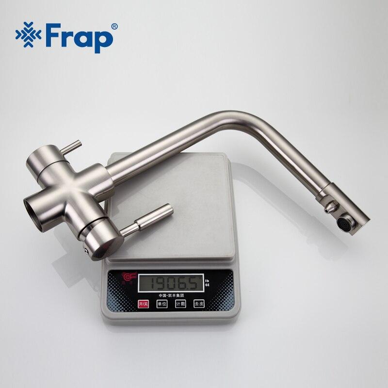 Frap Níquel Escovado Torneira Da Cozinha Sete Carta Projeto 360 Graus de Rotação Características de Purificação de Água Dupla Alça F4352 5 - 5