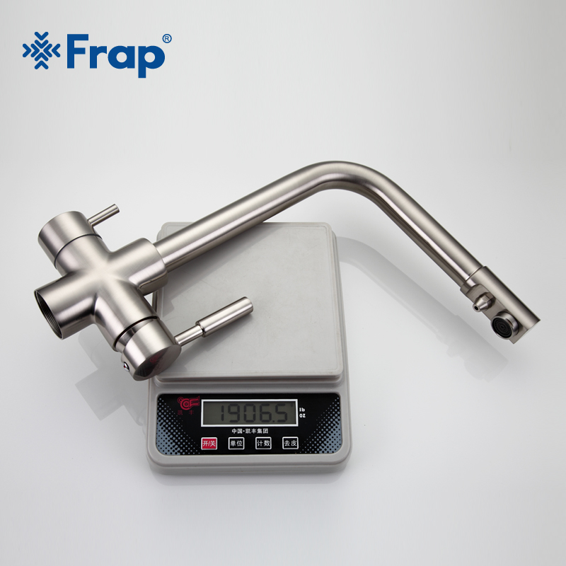 Frap Nickel Brushed Kitchen Faucet Seven Letter Design 360 Degree Rotation Water Purification Features Double Handle F4352 5 - 5