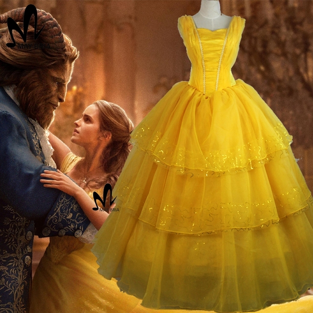 2017 Movie Beauty And The Beast Princess Belle Cosplay Costume Emma Watson Dress Halloween Costumes