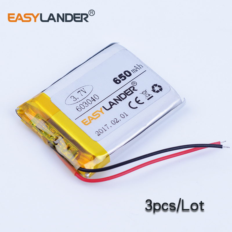 3pcs/Lot 603040 3.7V 650mAh Rechargeable li Polymer Li-ion Battery For MP3 MP4 gaming Mouse GPS PSP DVR PDA Lampe speaker Toys