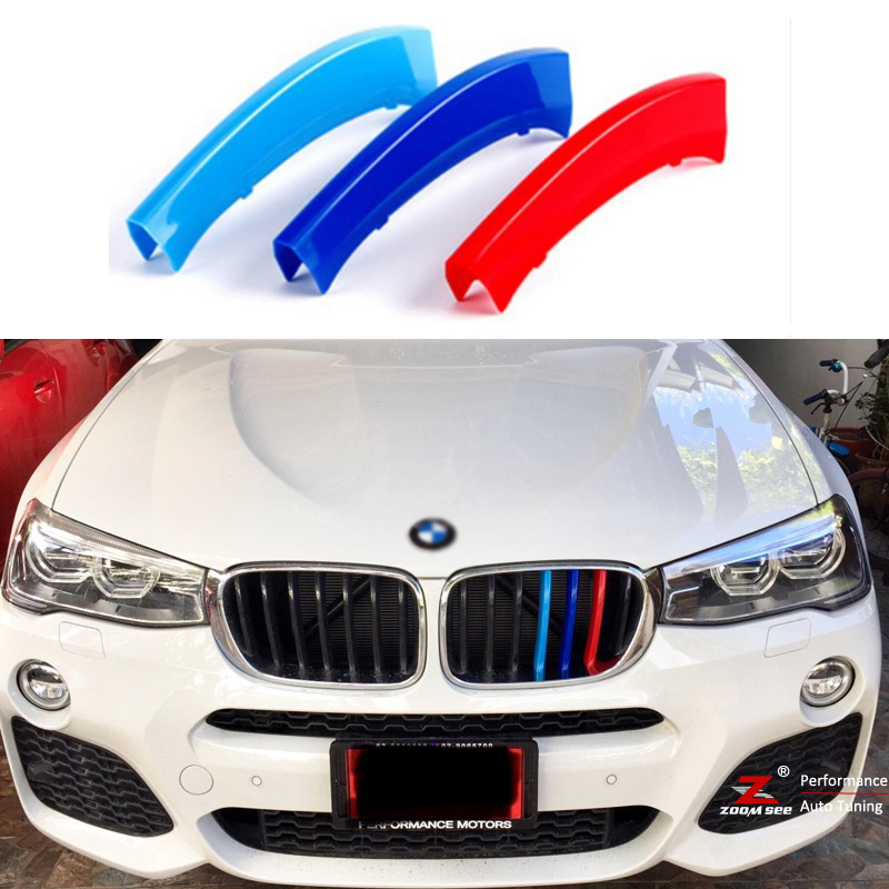 For 2011 to 2018 <font><b>BMW</b></font> <font><b>X3</b></font> X4 F25 F26 <font><b>G01</b></font> G02 3D styling M Front Grille Grills Trim Strips Cover performance Decoration Stickers image