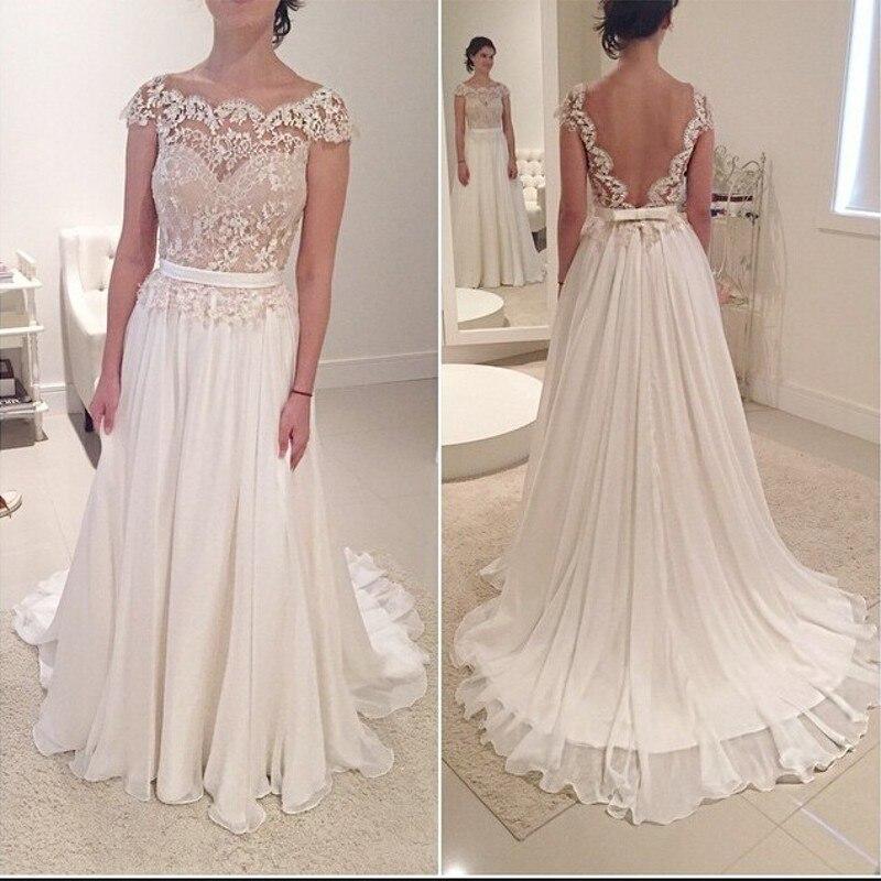 Beach Vestido De Noiva 2019 Wedding Dresses A-line Cap Sleeves Chiffon Lace Dubai Arabic Boho Wedding Gown Bridal Dresses
