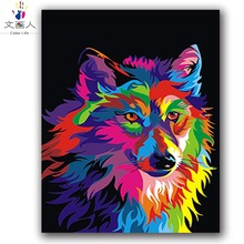 animal Wolf block color oil painting by numbers with kits for adult kids practise paint on canvas coloring room decor