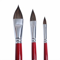 3 Pieces Handmade Sable S Hair Artist Watercolor Paint Brush French Style Pointed Painting Brushes For