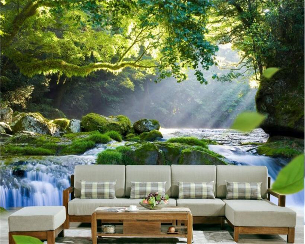 beibehang Fashionable classic personality interior decoration silk cloth wall paper woods waterfall scenery 3d wallpaper tapety