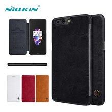 Nillkin Qin Series кожаный чехол для OnePlus 5 A5000 флип чехол для телефона oneplus 3 3 т 5.5 дюймов с отделения для карточек