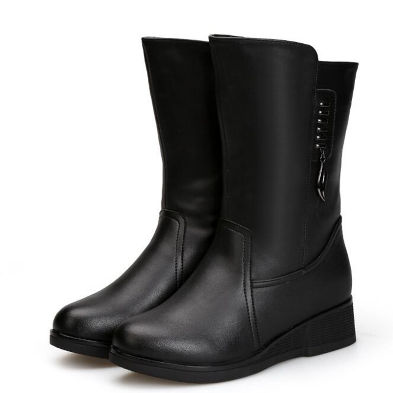 Plus Femmes Chaud Bottes La De Nouvelle Cuir Non tube D'hiver slip Laine Mode Noir Véritable Dans Plat Confort 2018 Taille Neige fTwaxq