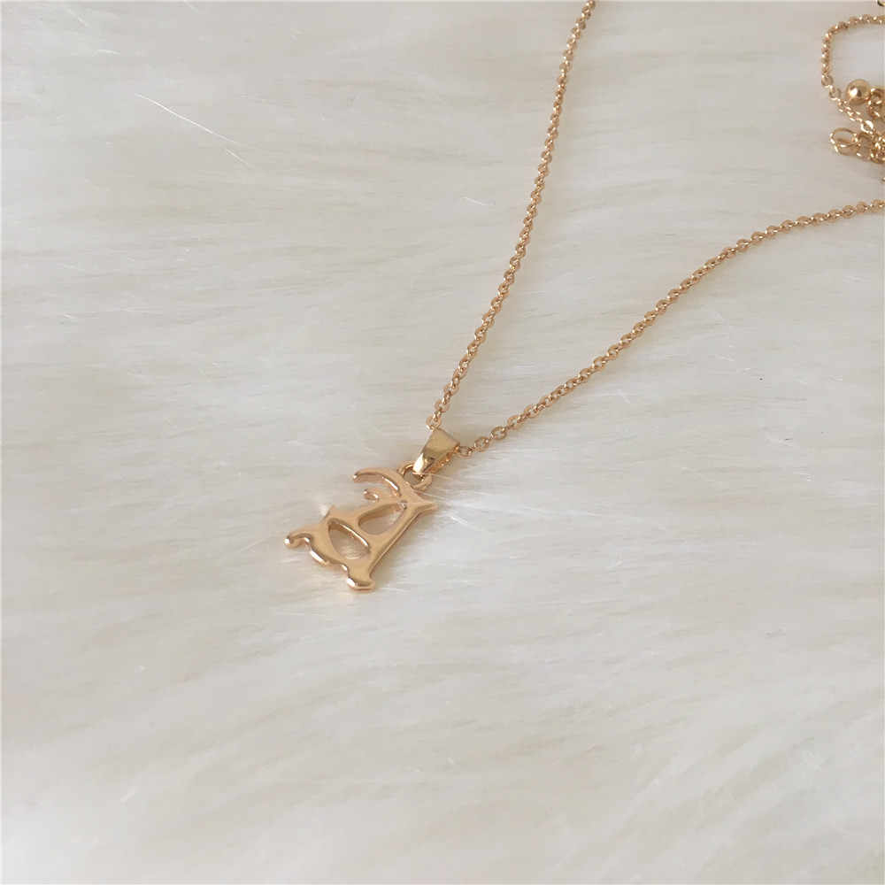 FASHION JEWELRY GOLD COLOR PLATING OLD ENGLISH FONT A LETTER PENDANT NECKLACE