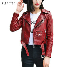 2019 New Pu Leather Jacket Women Spring autumn Red Coat female Short Faux Bikers Soft jacket