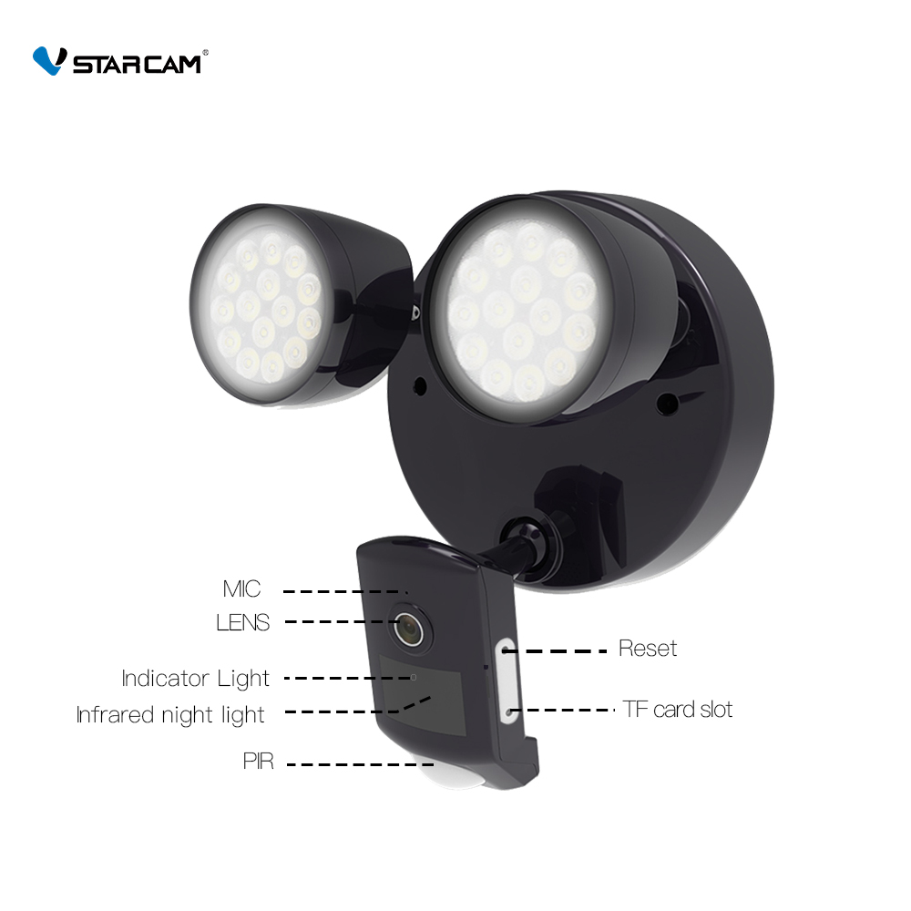 Image 5 - Vstarcam Outdoor HD 1080P LED Floodlight IP Camera Wifi Outdoor Waterproof Camera PIR Motion Detection Surveillance Security Cam-in Surveillance Cameras from Security & Protection