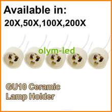 20X Best Quality Ceramic GU10 Lamp Socket Base LED light GU10 holder base 15CM cable connector Fast delivery CE RoHS(China)