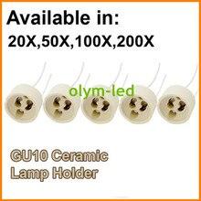 Base de enchufe de lámpara de cerámica GU10, base de soporte GU10, 15CM, conector de cable, entrega rápida, CE, RoHS, 20X