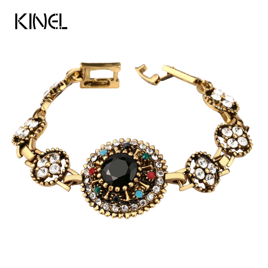 Fine Jewelry Gold Color Bracelets Black AAA Resin Bracelet Bangle For Women Mosaic Crystal Christmas Gift