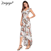 Ruiyige 2018 Sexy Party Lace Dress Backless V Neck White Sexi Vestidos Hippie Chic Summer Clubbing