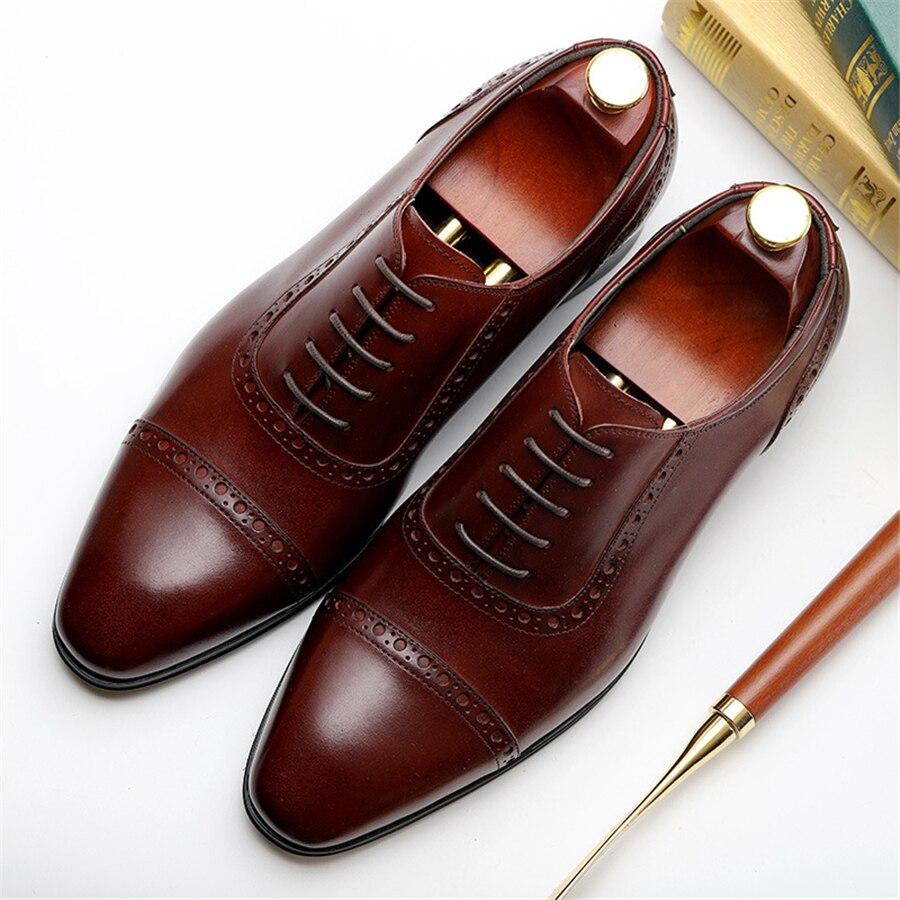 Свадебные туфли Броги из 100% натуральной коровьей кожи; мужская повседневная обувь на плоской подошве; винтажные оксфорды ручной работы для ... - 6