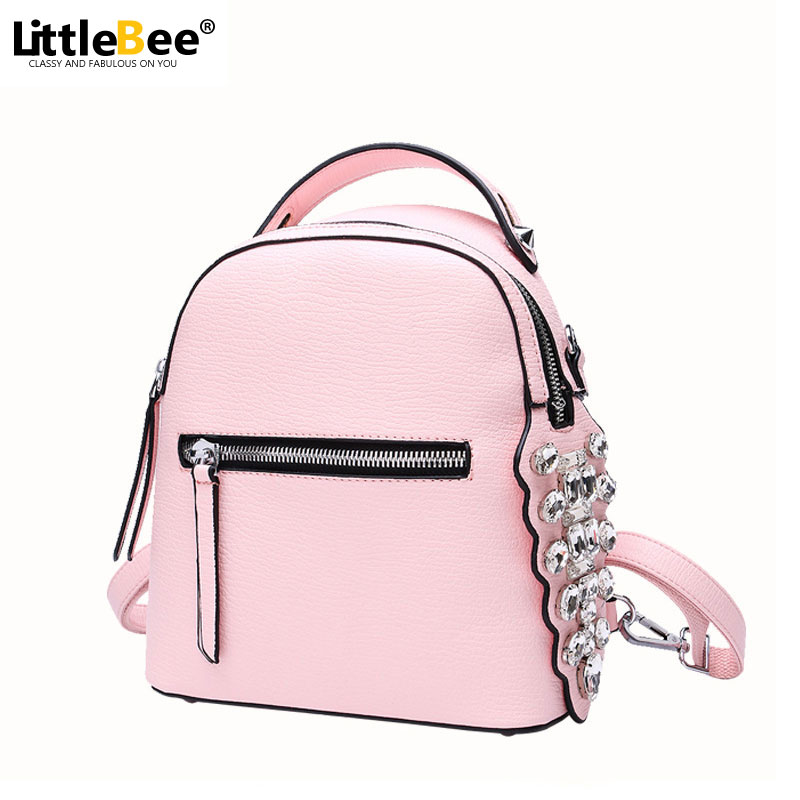 2016 New Women Backpack PU Leather Bag High Quality Small Diamonds School Bags Shoulder Bag Travel Mochila Feminina Sac a dos 2017 new fashion designer women backpack women travel bags vintage school shoulder bag motorcycle bag mochila feminina
