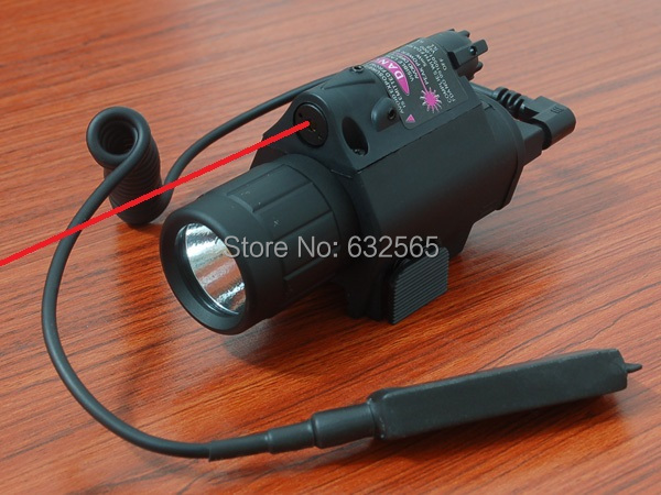 200 Lumens White Light Tactical M6 LED Laser Flashlight Combo with 5mw Red Laser Sight w/ Tail Switch