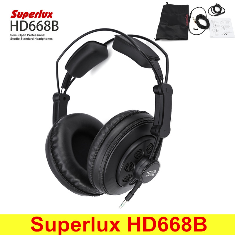 Superlux HD668B Professional Semi-open Studio Standard Dynamic Headphones Monitoring For Music Detachable Audio Cable superlux hd 562 omnibearing headphones noise canceling monitoring rotatable