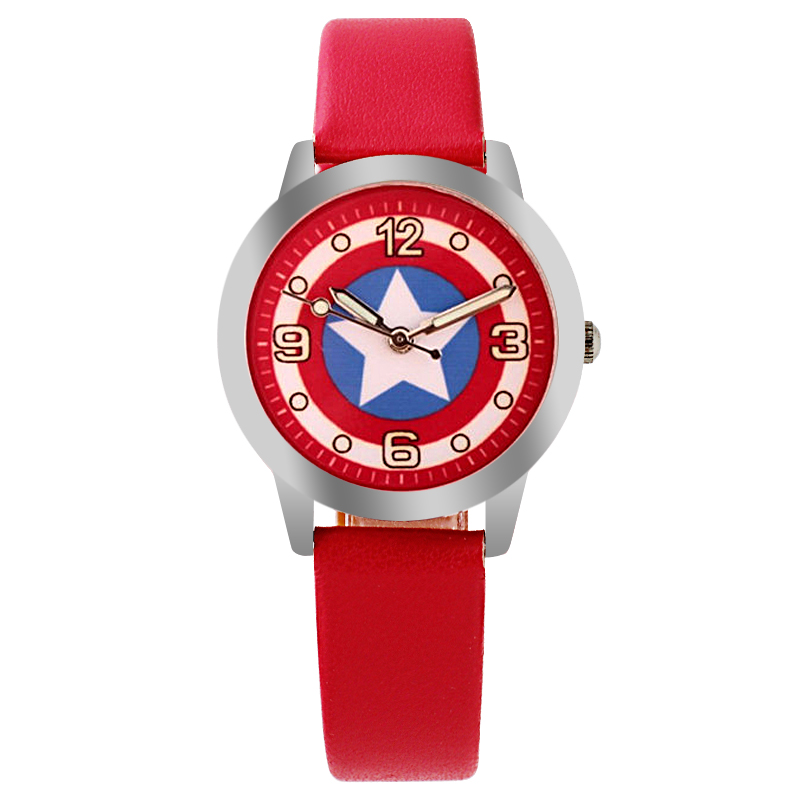 Captain America  Watch Fashion Watches Quartz children  Kids Clock boys girls Students Wristwatch 100% genuine disney fashion children watches for boys students captain america iron man leather watch strap luxury brand design