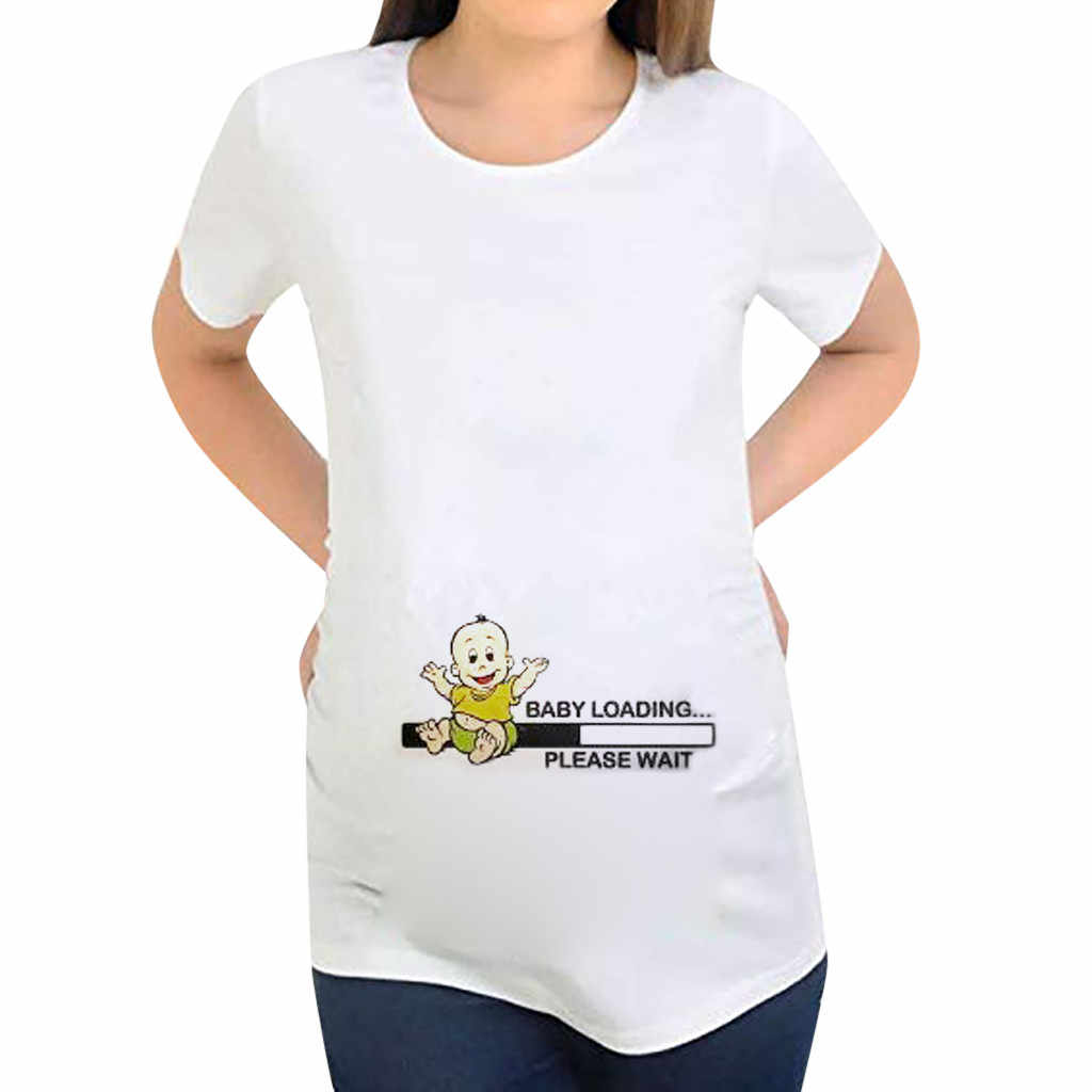 Comfortable Maternity T-shirt Pregnant	Women Short Sleeve Pregnant Maternity Letter Printing Cartoon Print Tops Embarazada 2019