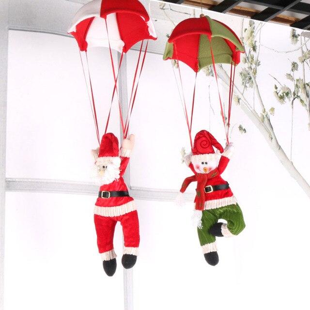 xmas parachute snowman santa claus ornament doll christmas tree hanging decoration xmas wall roof decor - Snowman Santa