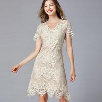 Women Lace Dresses 2019 Plus Size Ladies Beige Floral Embroidery Party Dress Vestidos Mom Dress Female Wear Clothes PB282