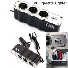 Kongyide Car-charger 1USB 12V 24V Cigarette Lighter Extender Splitter Car Charger Supply and Three Sockets dropship 19A17(China)