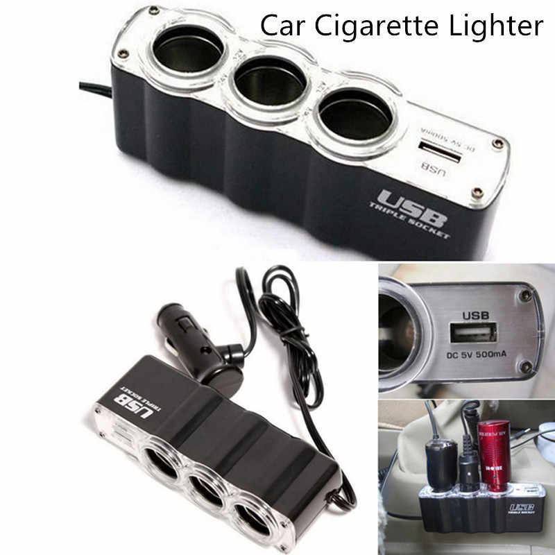 Kongyide Car-charger 1USB 12V 24V Cigarette Lighter Extender Splitter Car Charger Supply and Three Sockets dropship 19A17