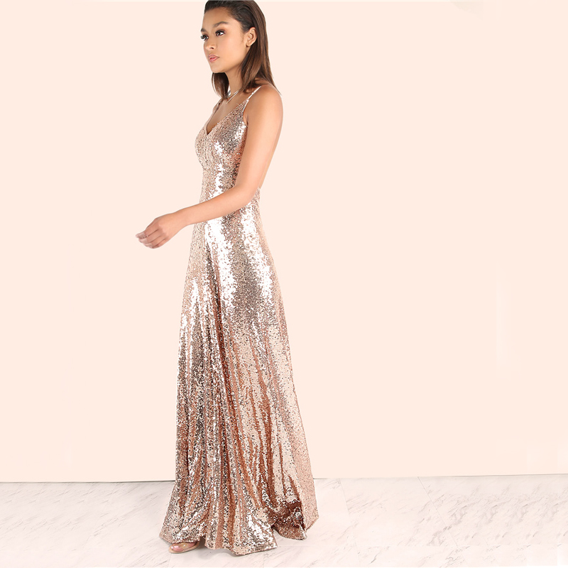 Rose Gold Sequin Backless A Line Maxi Dress